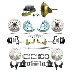 "F/X Body 4 Wheel Power Disc Brake Kit 11"" Drilled Slotted Black Caliper No Drop"