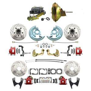 "F/X Body 4 Wheel Power Disc Brake Kit 11"" Drilled Slotted Red Caliper No Drop"