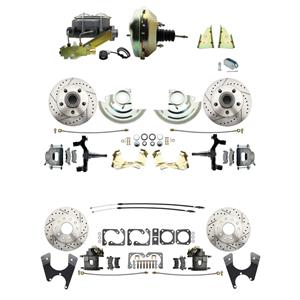 "64-72 A-body 4 Wheel Power Disc Brake Kit 9"" Drilled Slotted Raw Caliper 2"" Drop"
