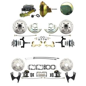 "67-72 Abody 4 Wheel Power Disc Brake Kit 11D Drilled Slotted Raw Caliper 2"" Drop"