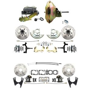 "F/X Body 4 Wheel Power Disc Brake Kit 11"" Drilled Slotted Raw Caliper 2"" Drop"