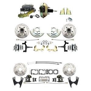 "F/X Body 4 Wheel Power Disc Brake Kit 9"" Drilled Slotted Raw Caliper 2"" Drop"