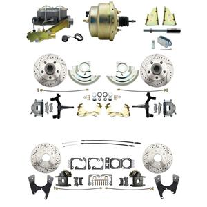 "F/X Body 4 Wheel Power Disc Brake Kit 8"" Drilled Slotted Raw Caliper 2"" Drop"