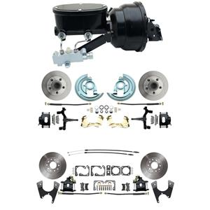 "6472 Abody 4 Wheel Power Disc Brake Kit 8""B Standard Rotor Black Caliper 2"" Drop"
