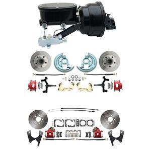 "F/X Body 4 Wheel Power Disc Brake Kit 8""B Standard Rotor Red Caliper 2"" Drop"
