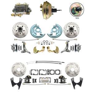 62-67 Nova Front & Rear Power Disc Brake Kit Drilled Slotted Raw Caliper
