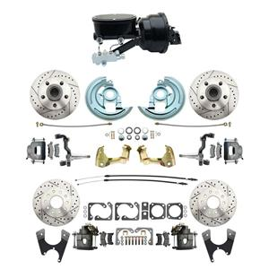 "6472 A-body 4 Wheel Power Disc Brake Kit 8""B Drilled Slotted Raw Caliper No Drop"