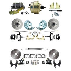 "64-72 Abody 4 Wheel Power Disc Brake Kit 8"" Standard Rotor Black Caliper 2"" Drop"