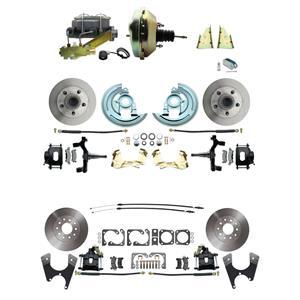 "64-72 Abody 4 Wheel Power Disc Brake Kit 9"" Standard Rotor Black Caliper 2"" Drop"