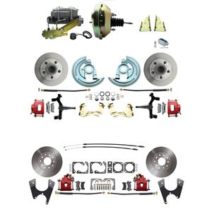 "64-72 A-body 4 Wheel Power Disc Brake Kit 9"" Standard Rotor Red Caliper 2"" Drop"