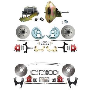 "67 F-body 4 Wheel Power Disc Brake Kit 11"" Standard Rotor Red Caliper 2"" Drop"