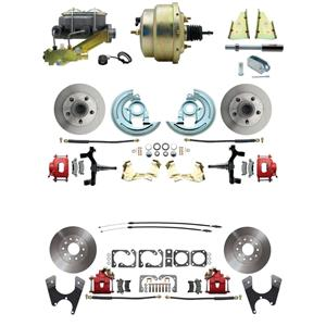 "67 F-body 4 Wheel Power Disc Brake Kit 8"" Standard Rotor Red Caliper 2"" Drop"