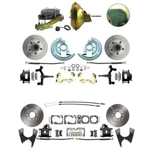 "6772 Abody 4 Wheel Power Disc Brake Kit 11D Standard Rotor Black Caliper 2"" Drop"