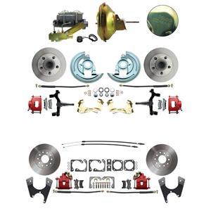 "67-72 A-body 4 Wheel Power Disc Brake Kit 11D Standard Rotor Red Caliper 2"" Drop"