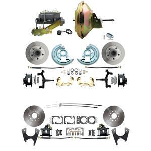 "6772 Abody 4 Wheel Power Disc Brake Kit 11"" Standard Rotor Black Caliper 2"" Drop"
