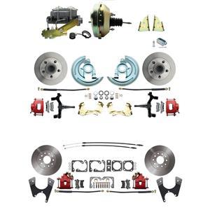 "F/X Body 4 Wheel Power Disc Brake Kit 9"" Standard Rotor Red Caliper 2"" Drop"