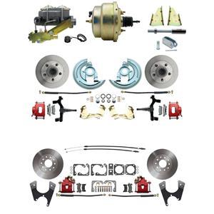 "F/X Body 4 Wheel Power Disc Brake Kit 8"" Standard Rotor Red Caliper 2"" Drop"