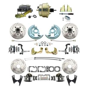"""64-72 A-body 4 Wheel Power Disc Brake Kit 8"""" Drilled Slotted Raw Caliper No Drop"""