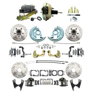 "64-72 A-body 4 Wheel Power Disc Brake Kit 9"" Drilled Slotted Raw Caliper No Drop"