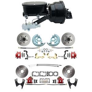 "F/X Body 4 Wheel Power Disc Brake Kit 8""B Standard Rotor Red Caliper No Drop"