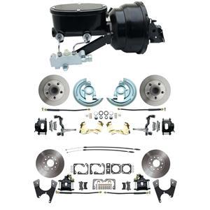 "F/X Body 4 Wheel Power Disc Brake Kit 8""B Standard Rotor Black Caliper No Drop"
