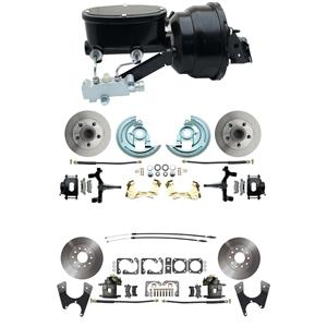 "64-72 A-body 4 Wheel Power Disc Brake Kit 8""B Standard Rotor Raw Caliper 2"" Drop"
