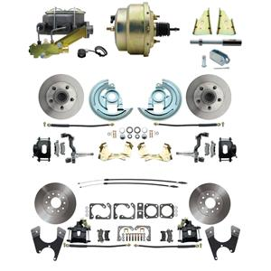 "64-72 Abody 4 Wheel Power Disc Brake Kit 8"" Standard Rotor Black Caliper No Drop"