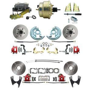 "67 F-body 4 Wheel Power Disc Brake Kit 8"" Standard Rotor Red Caliper No Drop"