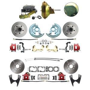 67-72 A-body 4 Wheel Power Disc Brake Kit 11D Standard Rotor Red Caliper No Drop