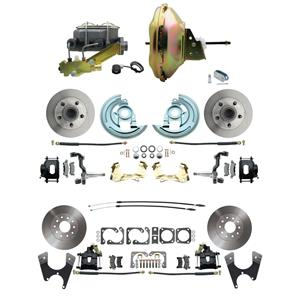"6772 Abody 4 Wheel Power Disc Brake Kit 11"" Standard Rotor Black Caliper No Drop"