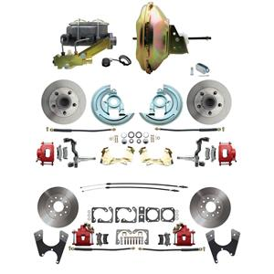 "67-72 A-body 4 Wheel Power Disc Brake Kit 11"" Standard Rotor Red Caliper No Drop"