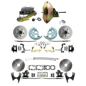 "F/X Body 4 Wheel Power Disc Brake Kit 11"" Standard Rotor Black Caliper No Drop"