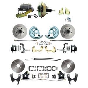 "F/X Body 4 Wheel Power Disc Brake Kit 9"" Standard Rotor Black Caliper No Drop"