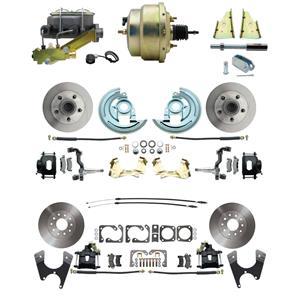 "F/X Body 4 Wheel Power Disc Brake Kit 8"" Standard Rotor Black Caliper No Drop"