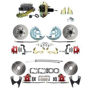 "F/X Body 4 Wheel Power Disc Brake Kit 9"" Standard Rotor Red Caliper No Drop"