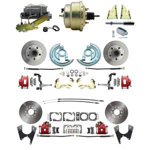 "F/X Body 4 Wheel Power Disc Brake Kit 8"" Standard Rotor Red Caliper No Drop"