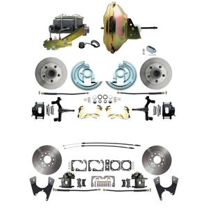 "67-72 A-body 4 Wheel Power Disc Brake Kit 11"" Standard Rotor Raw Caliper 2"" Drop"