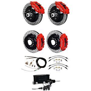 "Wilwood 73-77 El Camino Manual 4 Wheel Disc Brake Kit 13"" Drilled Rotor Red"