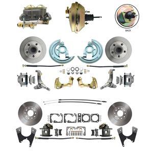 62-67 Nova Front & Rear Power Disc Brake Kit Standard Rotor Raw Caliper