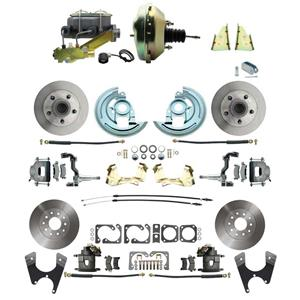 "64-72 A-body 4 Wheel Power Disc Brake Kit 9"" Standard Rotor Raw Caliper No Drop"