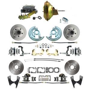 "67-72 A-body 4 Wheel Power Disc Brake Kit 11"" Standard Rotor Raw Caliper No Drop"