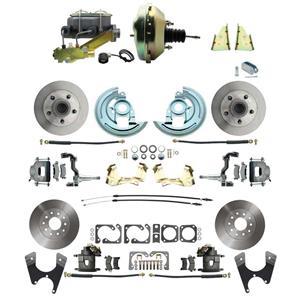 "F/X Body 4 Wheel Power Disc Brake Kit 9"" Standard Rotor Raw Caliper No Drop"