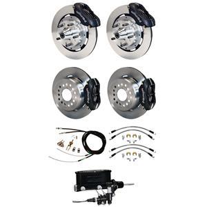 "Wilwood 73-77 El Camino Manual 4 Wheel Disc Brake Kit 12"" Plain Rotor Black"