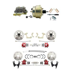 "Tri Five 4 Wheel Disc Brake Power Kit 8"" Booster Drilled Slotted Red Caliper"