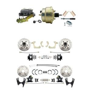 "Tri Five 4 Wheel Disc Brake Power Kit 8"" Booster Drilled Slotted Black Caliper"