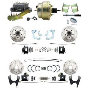 59-64 Chevy Full Size Power 4 Wheel Disc Brake Kit Drilled Slotted Black Caliper