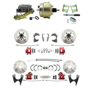 65-68 Chevy Full Size Power 4 Wheel Disc Brake Kit Drilled Slotted Red Caliper