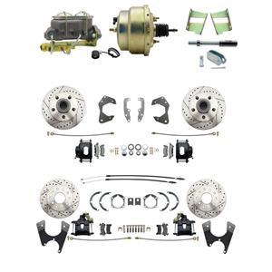 65-68 Chevy Full Size Power 4 Wheel Disc Brake Kit Drilled Slotted Black Caliper