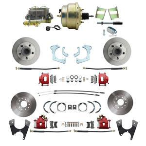 59-64 Chevy Full Size Power 4 Wheel Disc Brake Kit Drilled Slotted Red Caliper