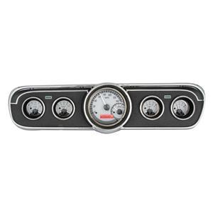 Dakota Digital 65-66 Ford Mustang Analog Gauges Silver Alloy Red VHX-65F-MUS-S-R